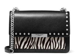 MK Michael Kors Jade Large Gusset Shoulder Bag Color:Black Multi (Black/ White)