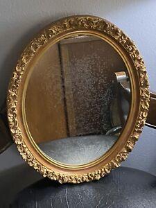 Antique Ornate Oval Wooden Gilded Golden Frame & Mirror.