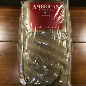 New American Legacy Full Bedskirt Vintage Green Stripes