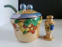 Vintage Orange lusterware mustard or jam jar w/ spoon & mini shaker japan