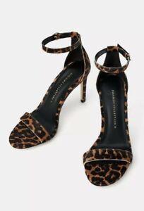 ZARA Black Tan Animal Leopard LEATHER Heeled Stiletto Sandal Shoe 37 4 BNWT