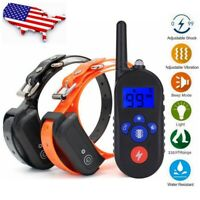 Electric Shock Training Collar Waterproof Rechargeable Pet Trainer for 1 / 2 Dog