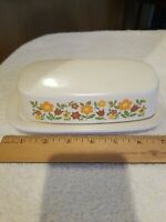 """Vintage McCoy Pottery Butter Dish/Lid Plaid Gingham Flowers daisy chain 7.5"""" L"""