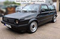 """16"""" Steel Wheel Rims 195/45 R16 Tyres Golf Mk1 Mk2 Polo Lupo Turbo GTi G60 Caddy"""