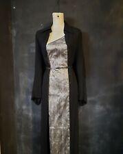 long black Ann Demeulemeester Dress Jacket slit button down Vintage s M