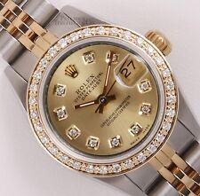 Rolex Lady Datejust Two Tone 18k Watch 26mm-Champagne Diamond Dial-Diamond Bezel