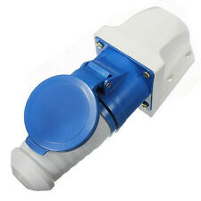 32A AMP 3 Pin Blue Plug & Wall Mount Socket Waterproof Caravans IP44 Lead B T0T0