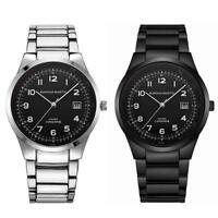 Luxury Men's Black Dial Wrist Watch Stainless Steel Analog Quartz Wristwatch