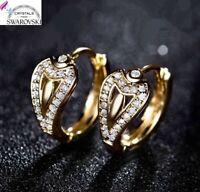 Orecchini da donna a cerchio oro giallo 18 kt pl.e cristalli Swarovski originali