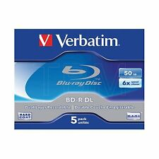 5 Verbatim Blu Ray BDR 50GB 6x BLU-RAY Disc Jewel Case: Standard 43748