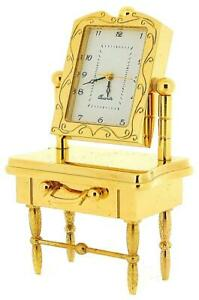 Miniature Goldtone Solid Brass Dressing Table Novelty Collectors Clock IMP41