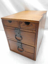 Antique Sugi Wood Office Box Japanese Drawers Circa 1900s #519