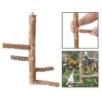 Bird Parrot Hanging Wood Stand Swing Cage Toy Budgie Play Cage Perch Stand
