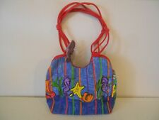 """Sally Huss Beach Bag Tote Large Beach Theme Seahorse Blue Pur Yel Or 14"""" Tall"""