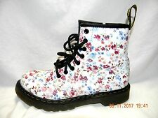 Dr Martens Delancy White w/ Pink & Blue Flowers Side Zip Size 1 UK 2 US