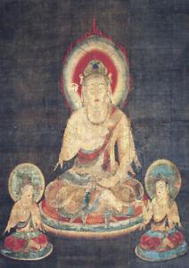 Buddhism Thangka - Candra - Large A2 size Canvas Wall Art Print Poster Unframed