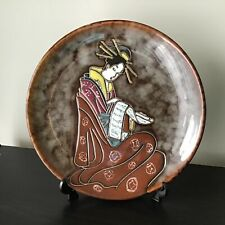 Geisha Designed Glazed Ceramic Plate With Plate Stand #129