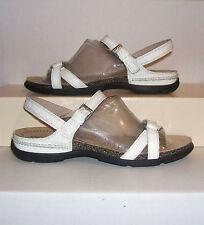 ECCO Womens White Croc-Print Patent Leather Slingback Strap Sandals 41 EU/ 10 US