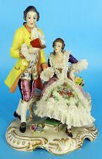 Dresden Volkstedt Figurine German Lace Porcelain Figurine Beautiful Couple Group