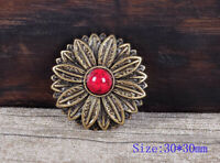 10PC 30MM Red Turquoise Flower Belt Leathercraft Headstall Concho Antique Brass