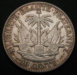 HAITI 50 Centimes 1895 (a) - Silver - VF - 1146
