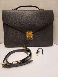 Louis Vuitton Porte Documents Bandouliere Briefcase Black Epi Strap Key UNISEX