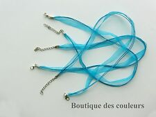 LOT DE 3 COLLIERS CORDONS RUBAN ORGANZA  BLEU TURQUOISE CREATION BIJOUX