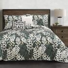 Lush Decor, Green Camouflage Leaves 5 Piece Quilt Set, Full/Queen