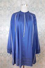 Free People Blue Checkered Metallic Loose Summer Beach Cover Tunic Shirt Dress L