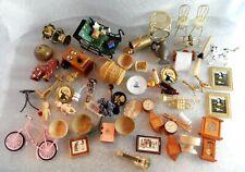 Vintage Accessories Lot Clocks Pictures Bowls Dollhouse Miniature