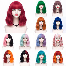 35CM Lolita Short Curly Bangs Cute Ombre Rainbow Japan Party Cosplay Hair Wig