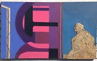"""Original 1985 Benjamin Borax """"TR"""" Abstract Collage Vintage Rare 50""""x30"""""""