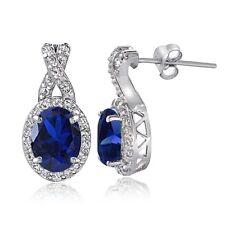 Sterlingsilber Künstlicher blauer Saphir & Weiß Topas X oval Ohrhänger