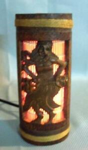 Carved Bamboo Wood Carving Hawaiian Tiki Bar Lamp