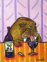 WALRUS wine  art print 11x14 animals impressionism gift new