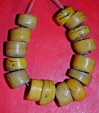 Ancient Yellow Wound Glass Hebron Kano Beads, West Bank, Israel - African Trade