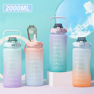 2L Water Bottle Motivational Drink Flask With Time Markings BPA Free Sports Gym✅