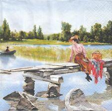 3 Lunch Papier Servietten Napkins (6-10)  Frau auf Steg am Ufer