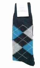 LORENZO UOMO Argyle Socks ITALY Charcoal Grey / Blue ( 10 - 13 )