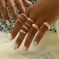 9 Pcs/set Gold Midi Finger Ring Set Vintage Punk Boho Knuckle Rings Jewelry New