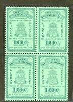 US Stamps # #3 Series Liquor Tax 10c Colorado Liquor Tax XF OG NH Block Of 4