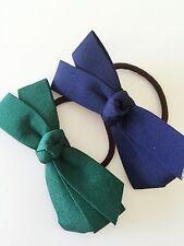 Girl School Office Lady Dark Navy Green Bow Ribbon Ponytail Tie Hair band Holder