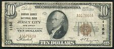 1929 $10 HUDSON COUNTY NB JERSEY CITY, NJ NATIONAL CURRENCY CH. #1182