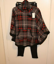 CUDDL DUDS Womens Red Plaid Poncho & Black Leggings Fleece Pajama Set  Size S