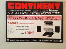 CATALOGUE VINTAGE CONTINENT CHOLET - SALON DE LA HI FI