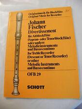 Partitur Johann Fischer Unterhaltung Flöte OFB29
