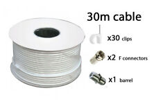 30m White RG6 Satellite freeview Digital TV Sky+ HD Aerial Coax Cable Coaxial