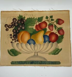 Vintage Painted Theorem on Velvet - Painting of Fruit in compote Unframed signed