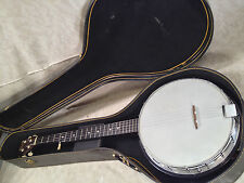 Carlos 5 String Banjo Korea Strung Action Good Beautiful Wood and Head Intact