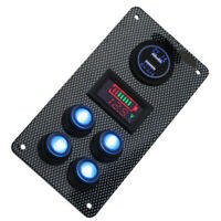 12V/24V Boat Car Dual USB Charger On-Off Rocker Switch Panel LED Voltmeter Gauge